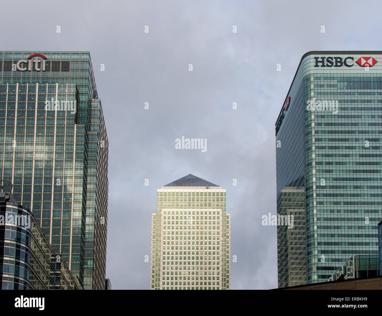 Canary Wharf, London showing the multi-occupancy One Canada Square (centre) and the HSBC building and Citibank Centre. - Stock Image