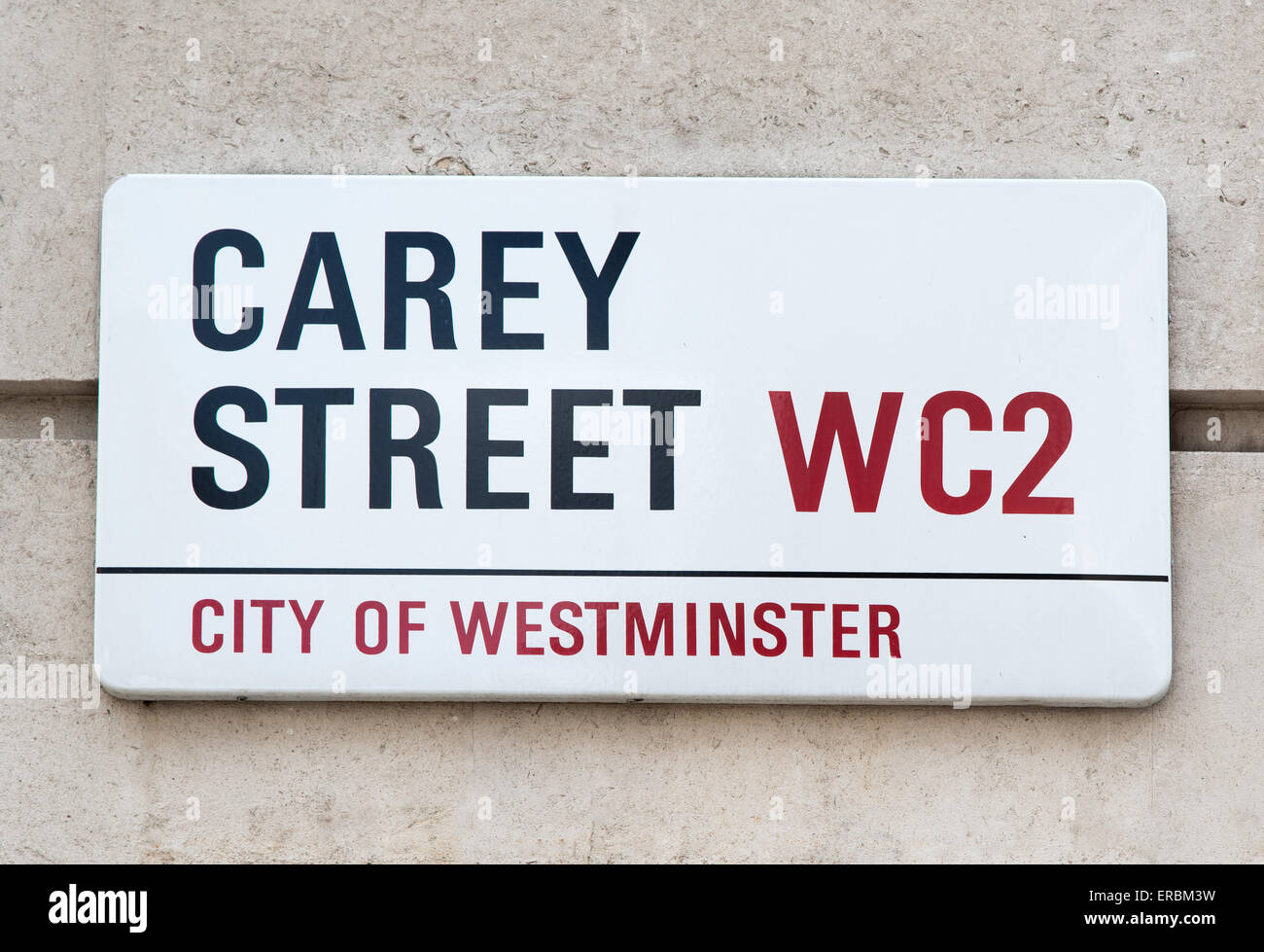 Sign for Carey Street in London WC2. This was once the location of the Bankruptcy Court.hence the expression 'in - Stock Image