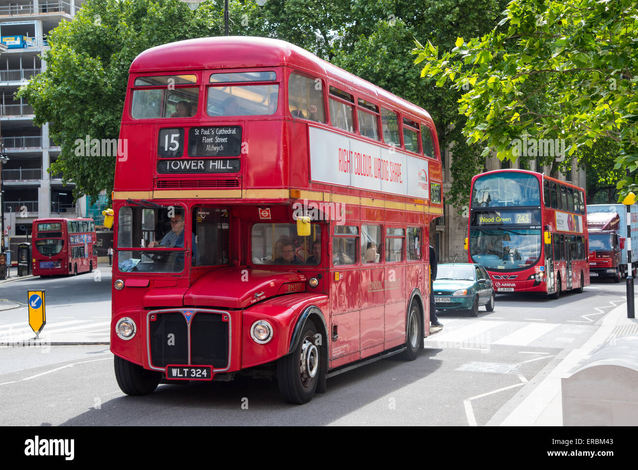 AEC Routemaster Bus on The Strand, London. These iconic buses are still used on two Heritage Bus routes, numbers - Stock Image