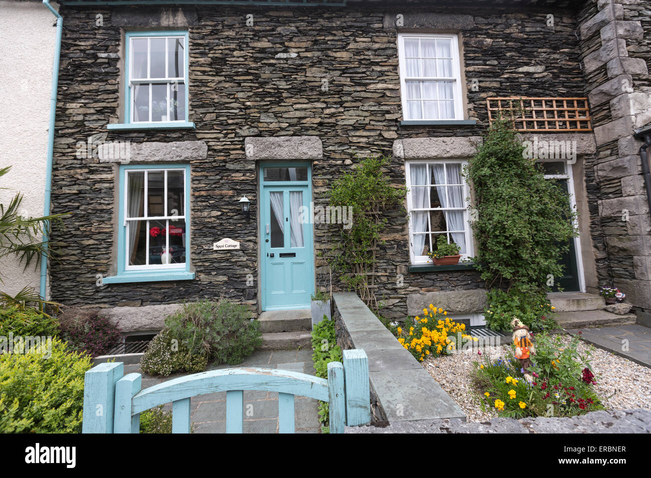 Stoned terraced house with small garden in Windermere Stock Photo