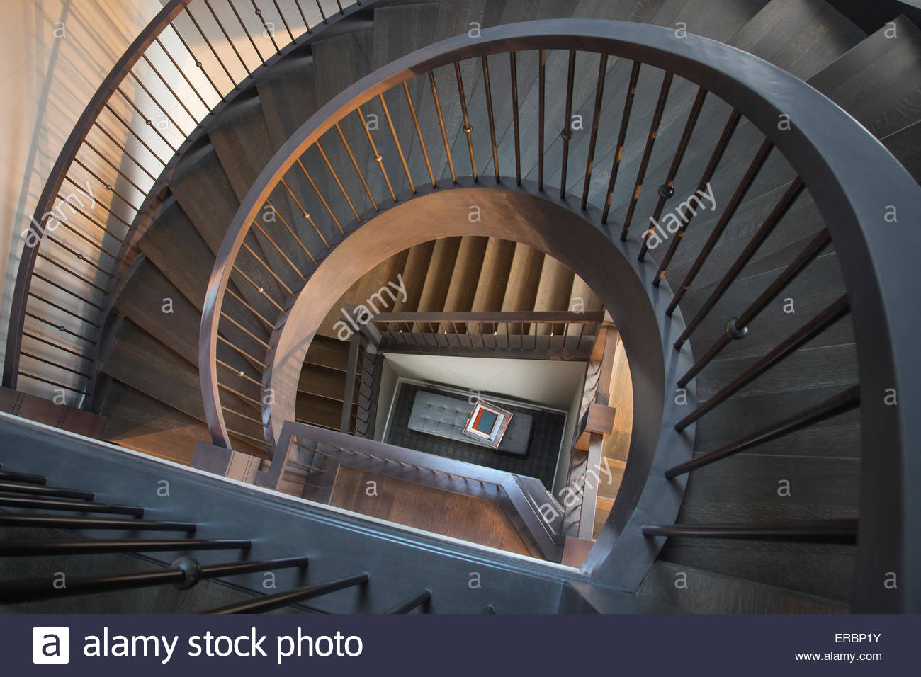 View from above of spiraling staircase - Stock Image