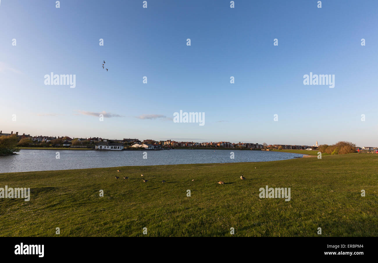 Fairhaven artificial lake in Lytham - Stock Image