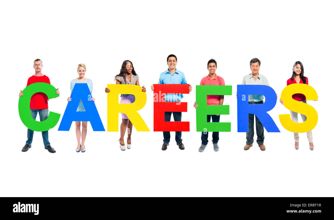Group of Business people holding the letter 'CAREER' - Stock Image