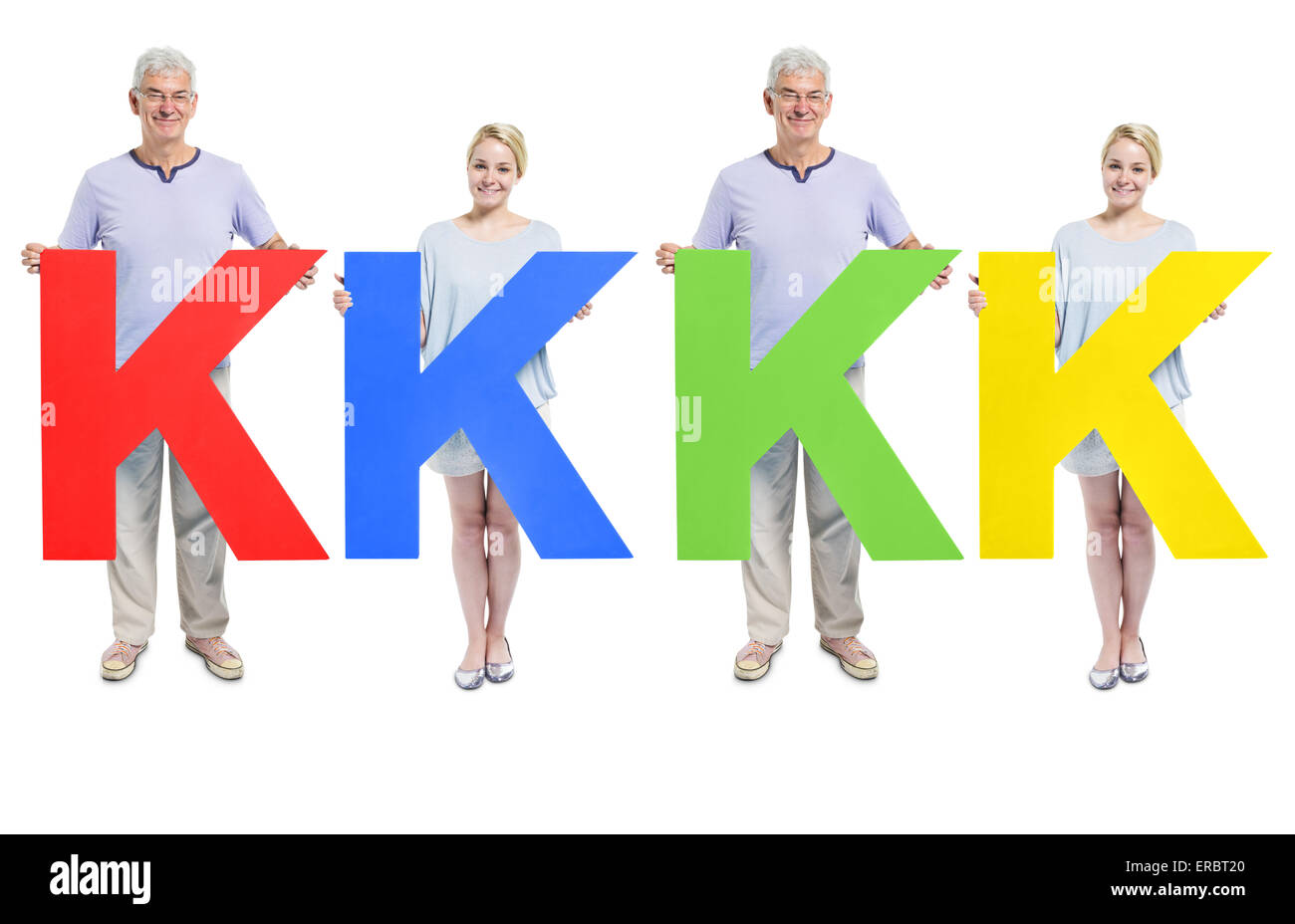 People holding letter 'K' - Stock Image