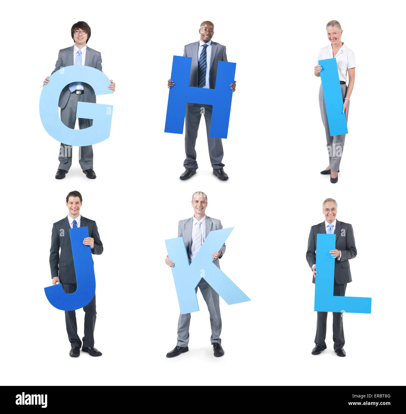 Group of business people holding the letter G, H, I, J, K, L - Stock Image