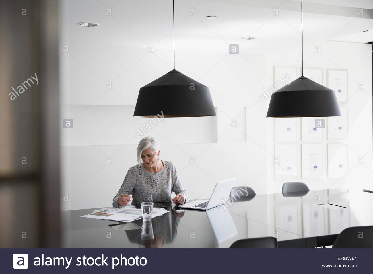 Designer reviewing plans at laptop in conference room - Stock Image