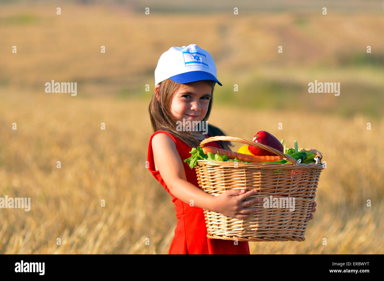 Little Jewish Israeli girl with basket of the first fruits during the Jewish holiday, Shavuot in Israel. - Stock Image