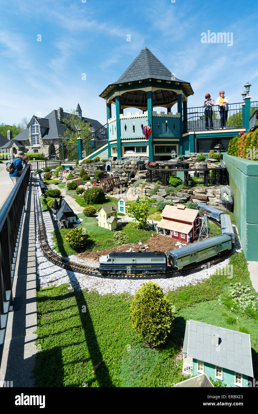 Michigan, Charlevoix, Castle Farms, Model Garden Railroad - Stock Image