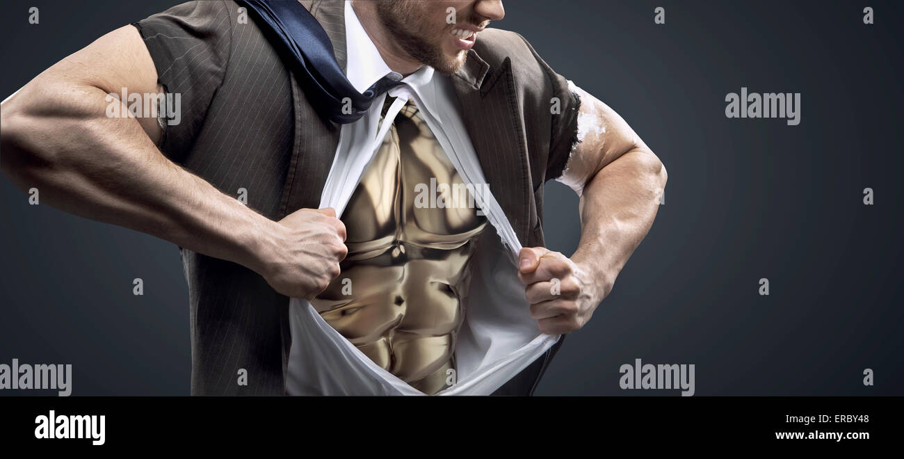 Conceptual picture of a man with glossy golden chest - Stock Image