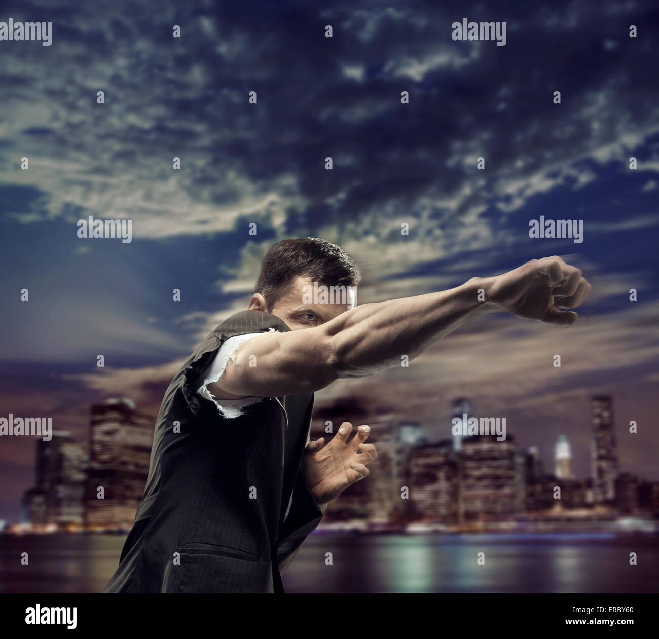 Successful man over the town background Stock Photo