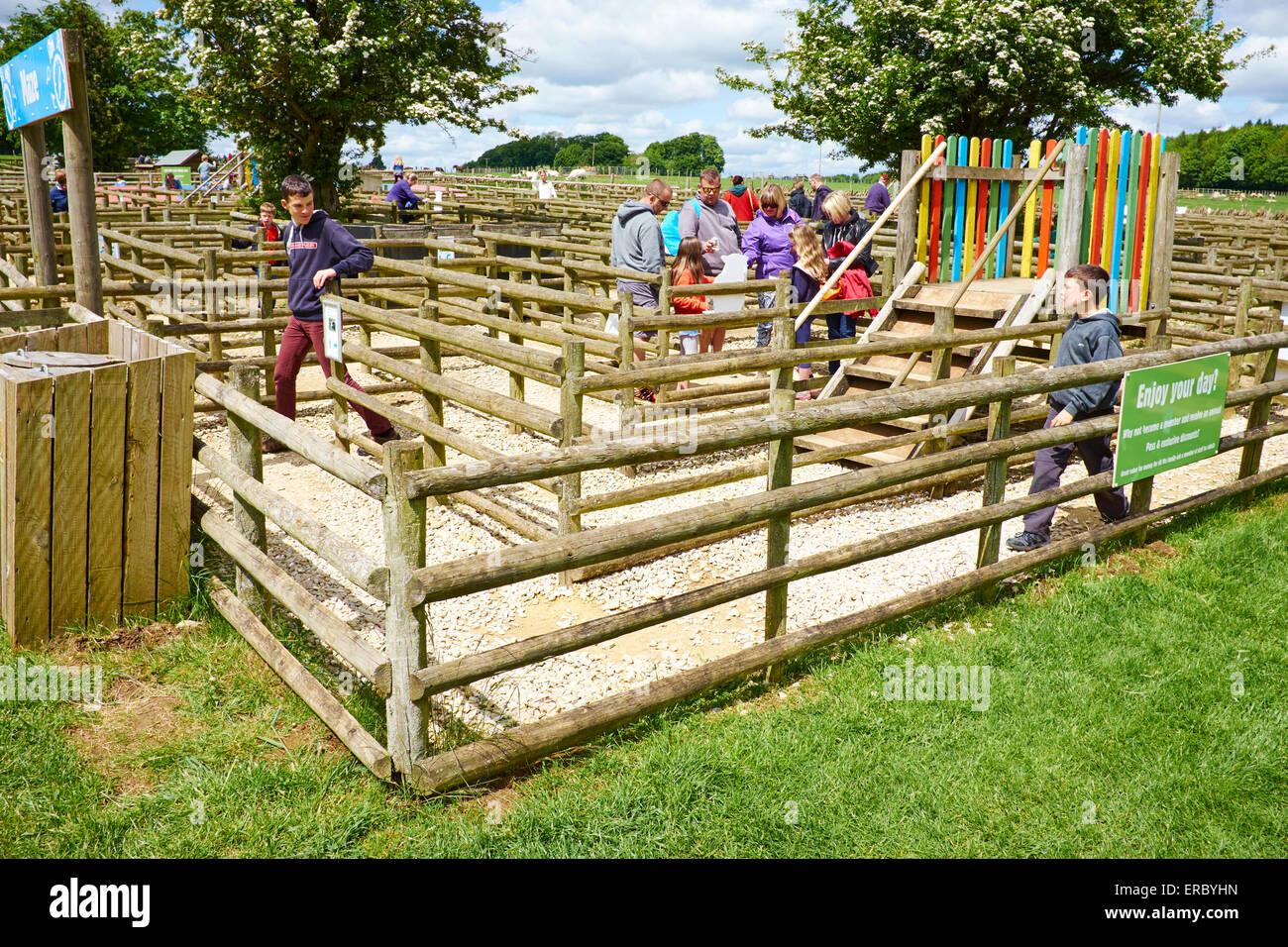 A Fence Maze At Cotswold Farm Park Bemborough Farm Kineton UK - Stock Image