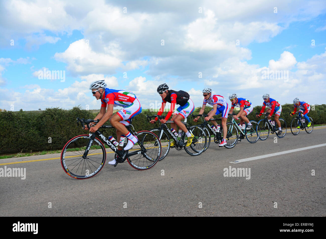 Bicycle team riders - Stock Image