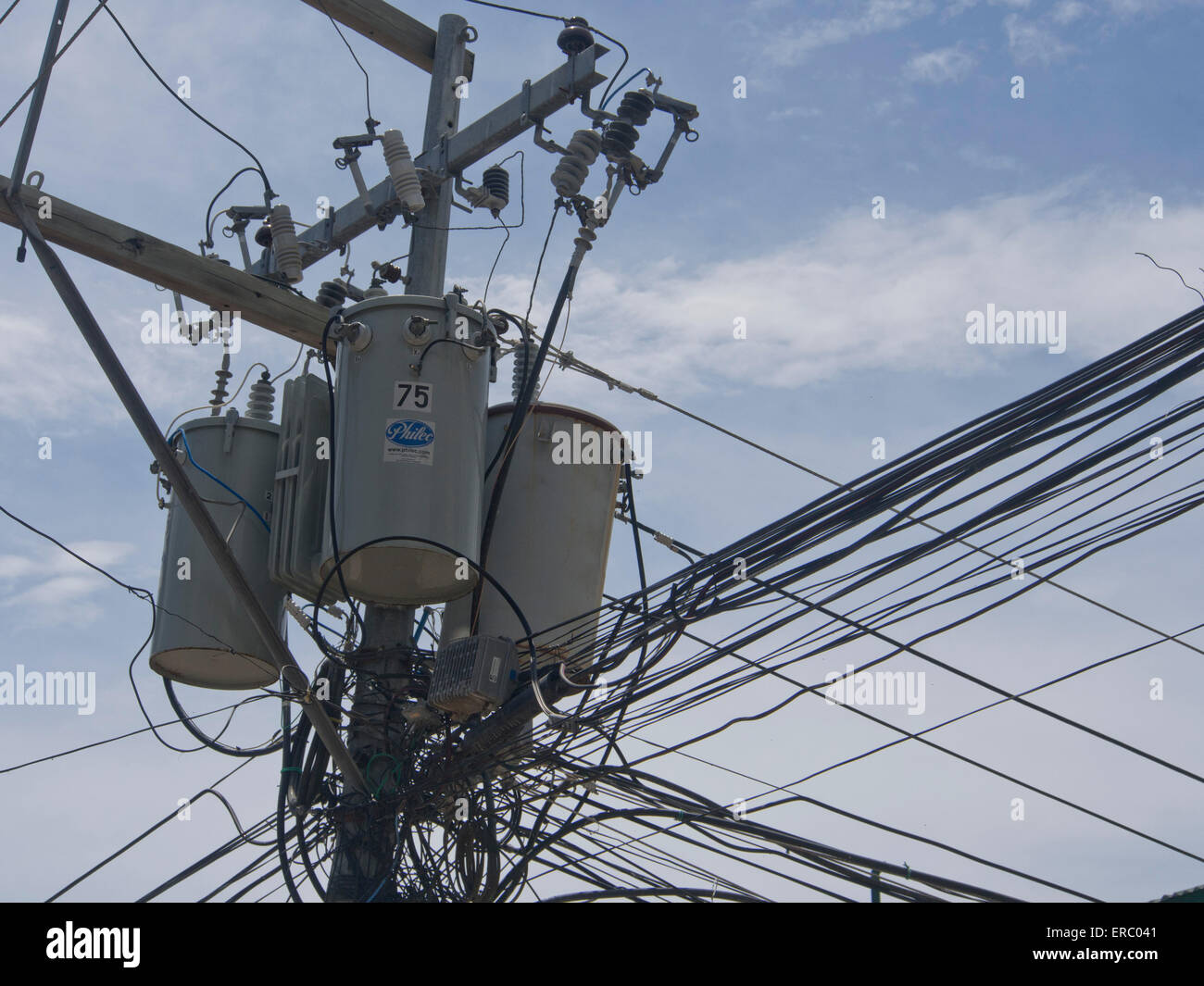 Philippines Electricity Stock Photos Eagle Wiring Devices Chaotic Supply Cables Tangled In Posts Boracay Image