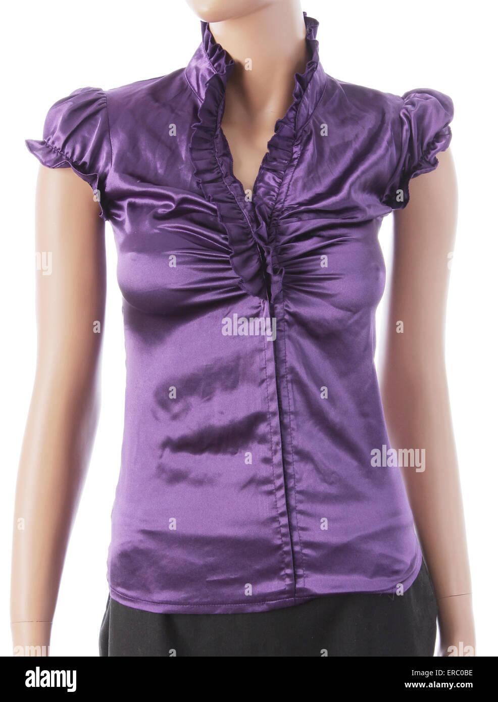 Purple Silk Short Sleeved Blouse - Stock Image