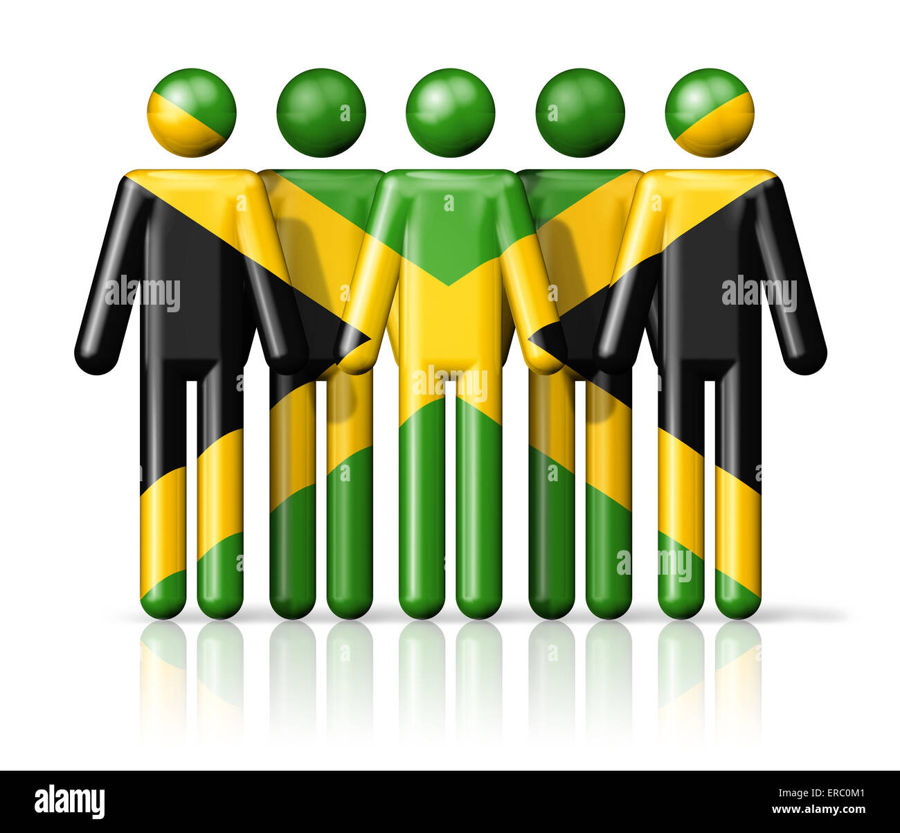 Flag of Jamaica on stick figure - national and social community symbol 3D icon - Stock Image