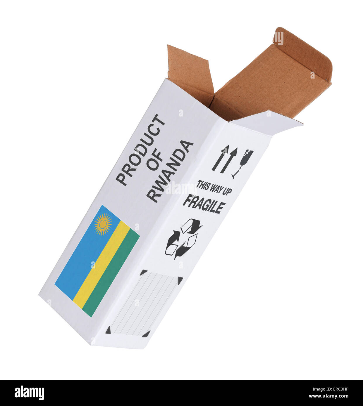Concept of export, opened paper box - Product of Rwanda - Stock Image