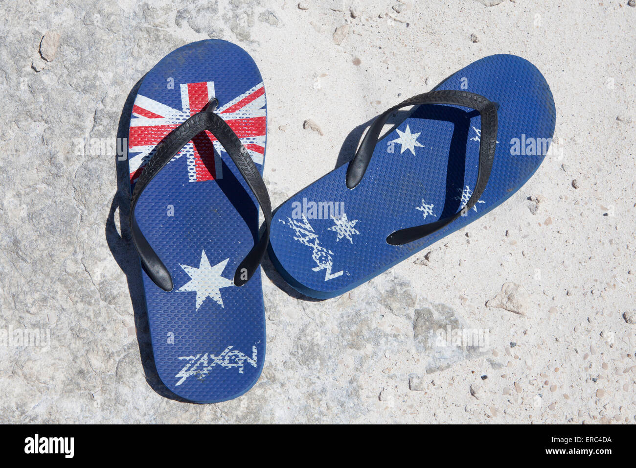 43dbde98eb8b Australian flag flip-flops  thongs  type sandals Stock Photo ...
