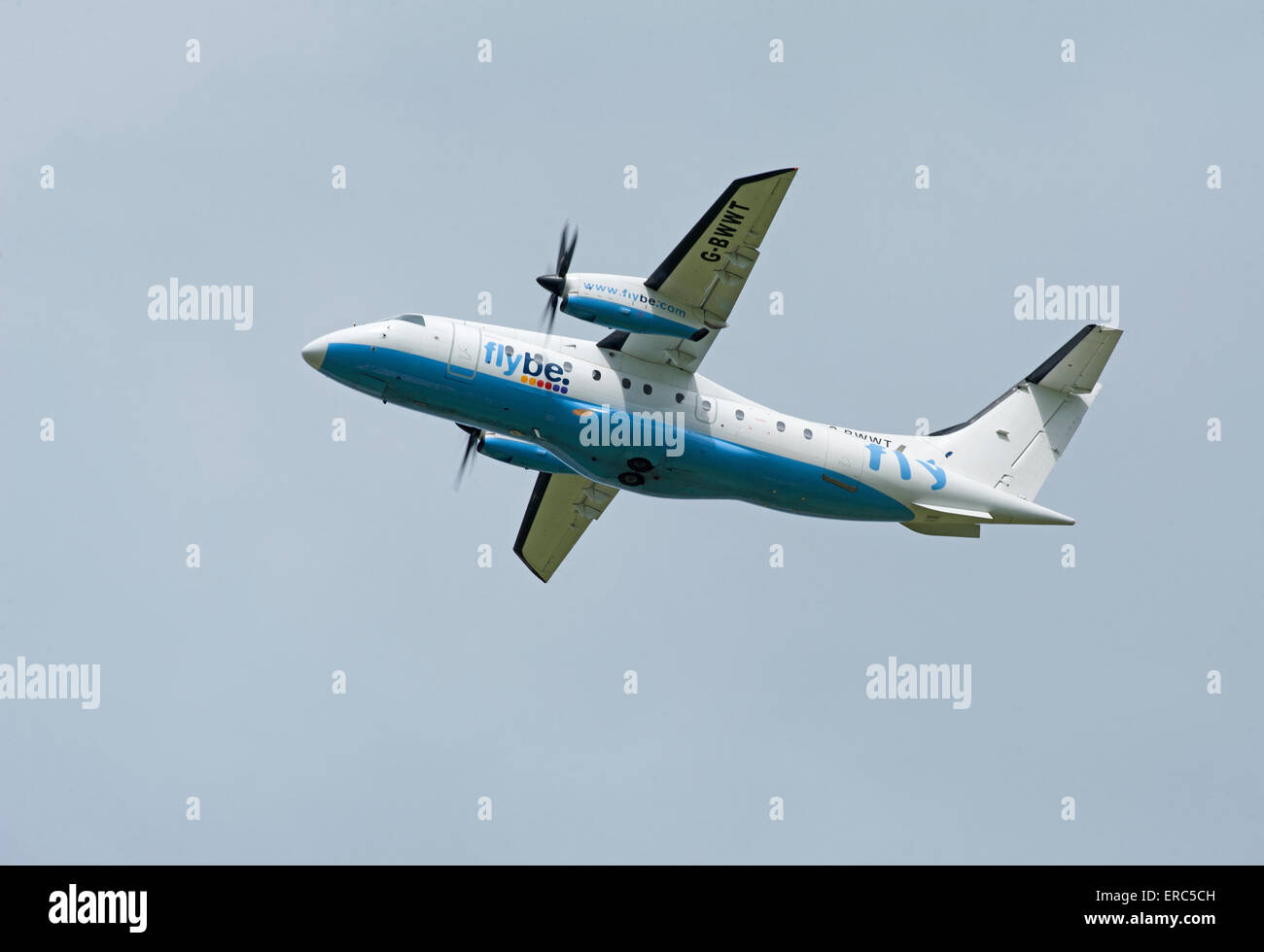 Dornier 328-100 34 seater short haul FlyBe airliner working from Inverness airport.  SCO 9820. - Stock Image