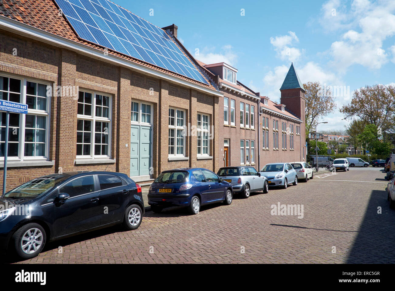 Solar panels on a community building in The Hague, Netherlands - Stock Image