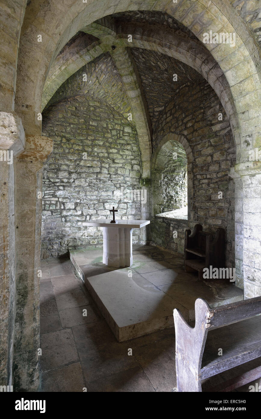 Interior of 800 year old St. Aldhelm's Chapel Worth Matravers, Dorset Stock Photo