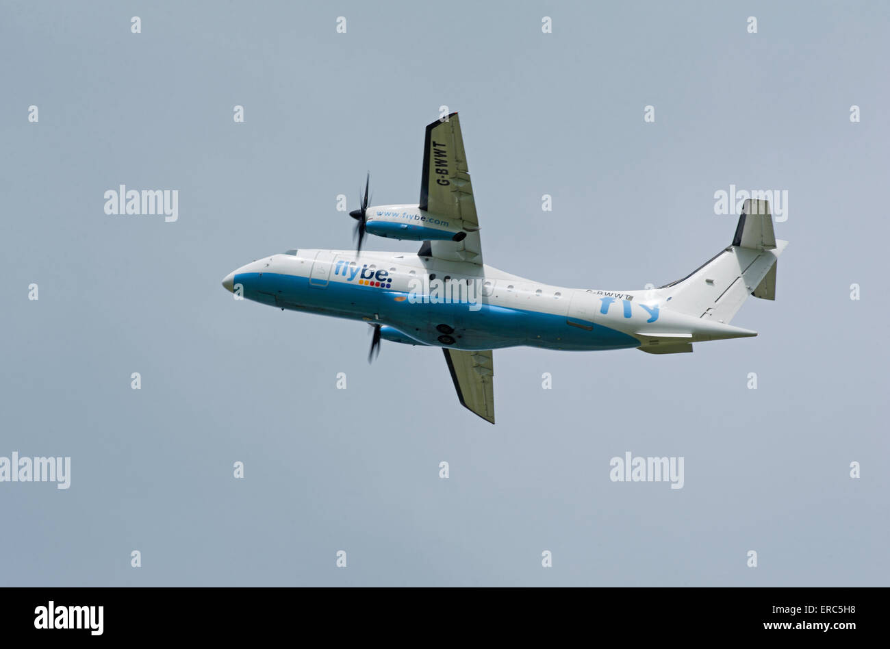Dornier 328-100 34 seater short haul FlyBe airliner working from Inverness airport.  SCO 9821. - Stock Image
