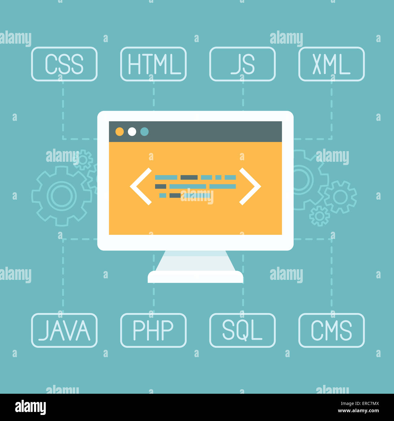 Web development concept in flat style - programming and coding concept - internet tecgnologies - Stock Image