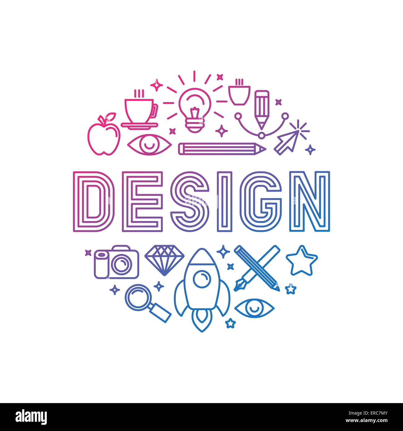 Linear logo design concept - illustration with icons and signs related to graphic design and creative process - Stock Image