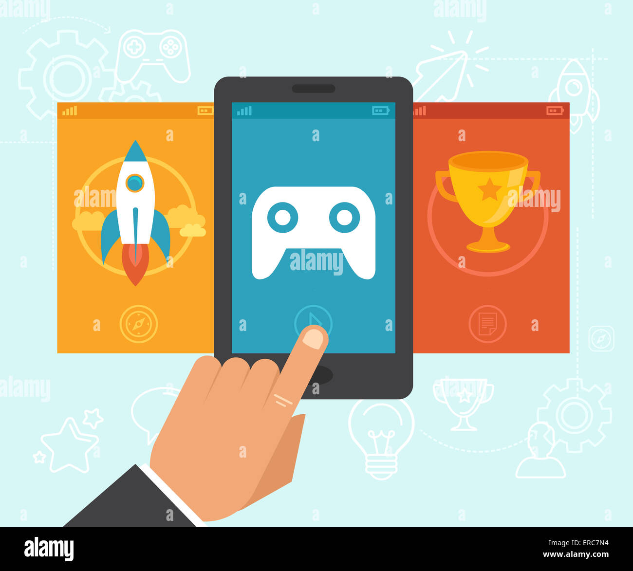 Gamification concept - digital device with touchscreen and game interface on it with award and achievement icons - Stock Image