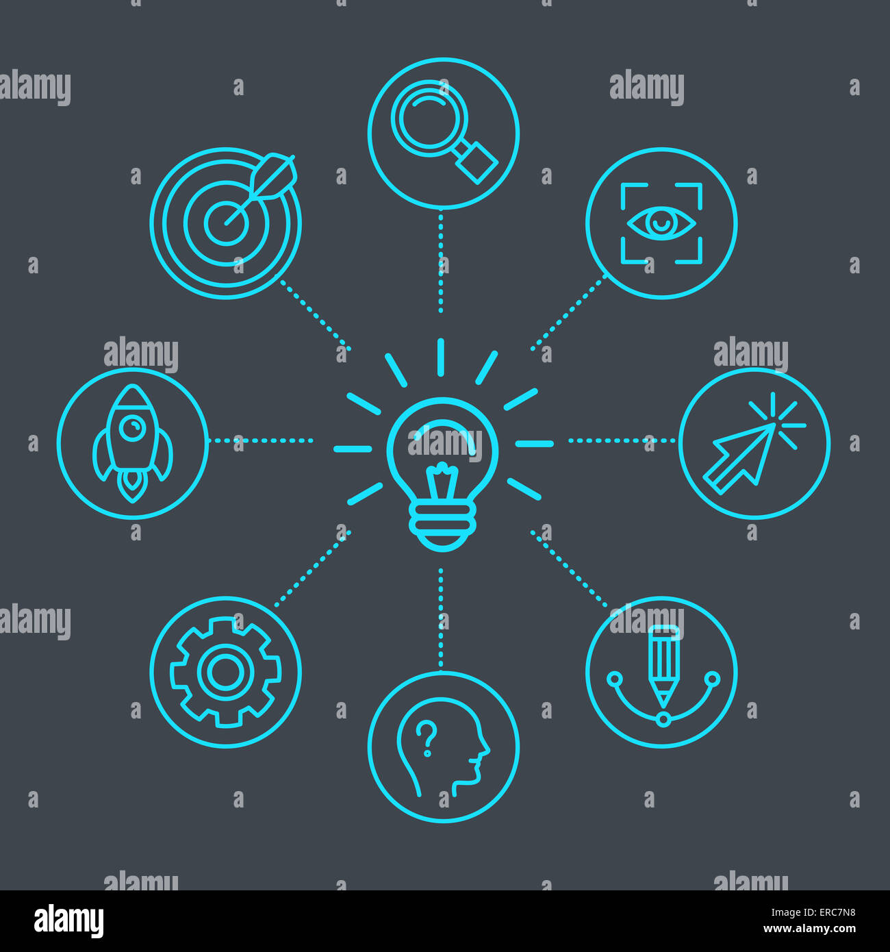 Innovation concept in linear style - light bulb and infgraphics design elements and icons - Stock Image