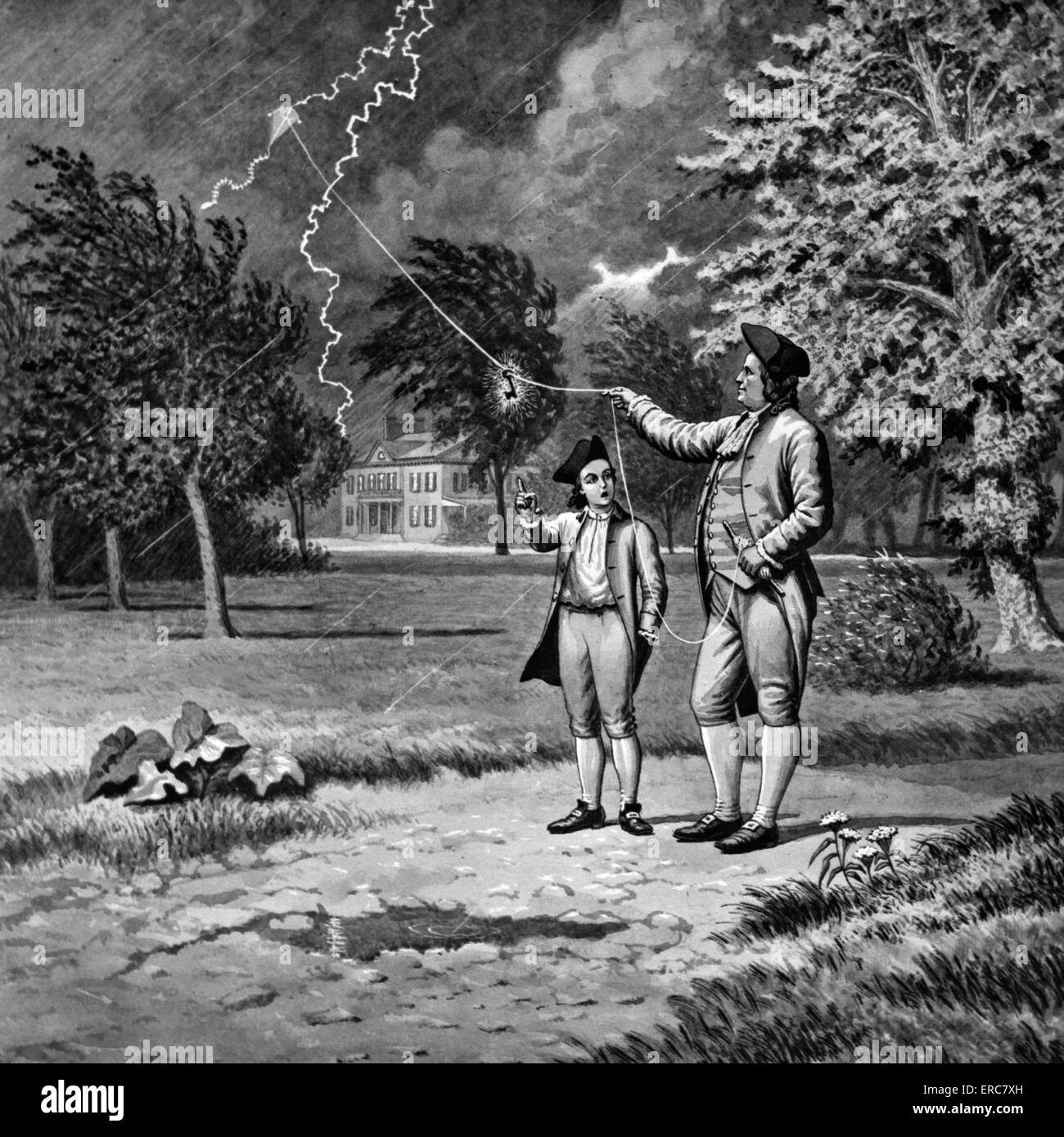 1700s 1752 BENJAMIN FRANKLIN KITE AND KEY ELECTRICITY EXPERIMENT DURING  LIGHTNING STORM PHILADELPHIA PENNSYLVANIA USA