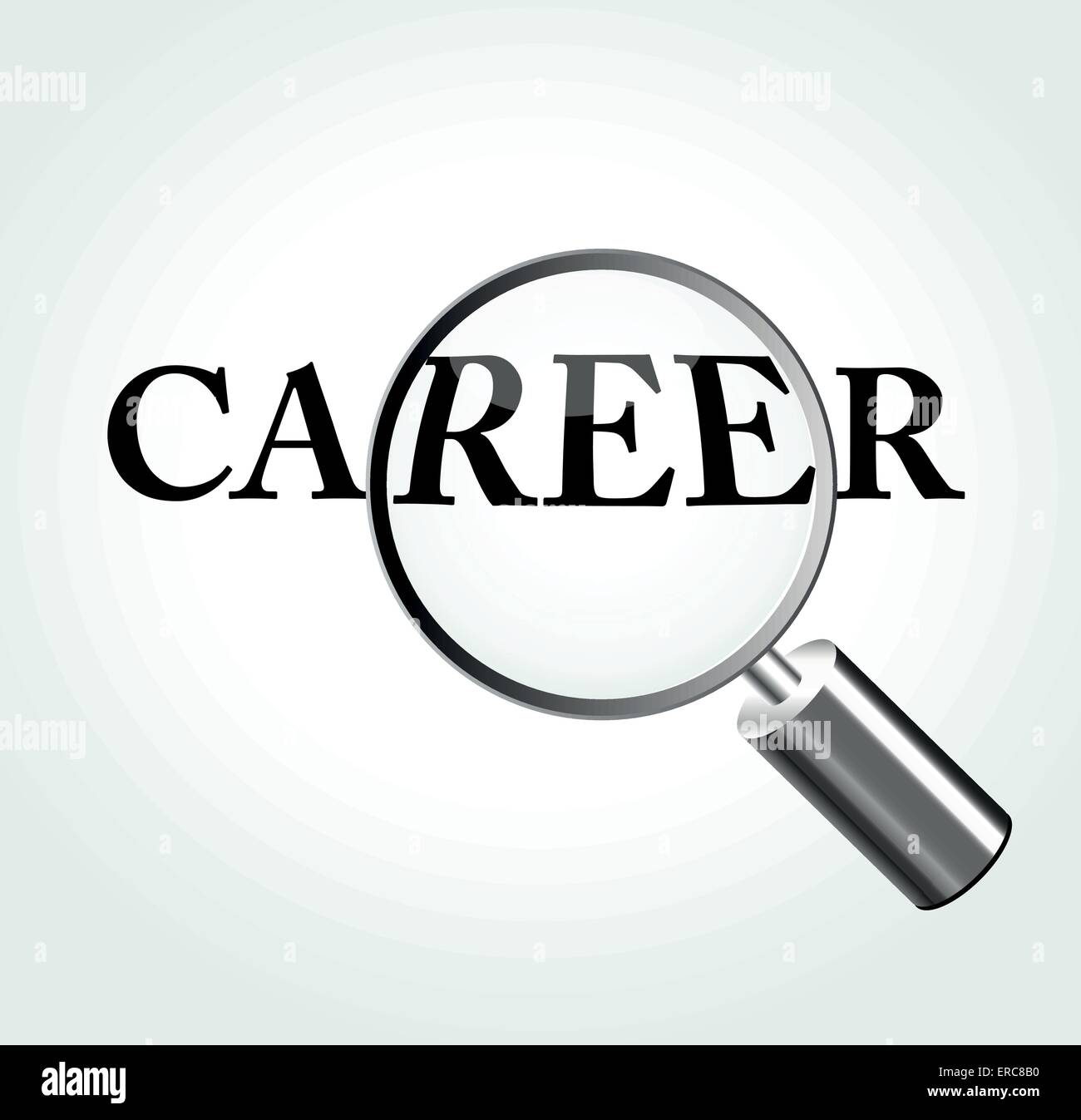 Vector illustration of career concept with magnifying - Stock Vector
