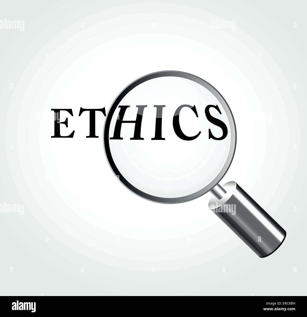 Vector illustration of ethics concept with magnifying - Stock Image