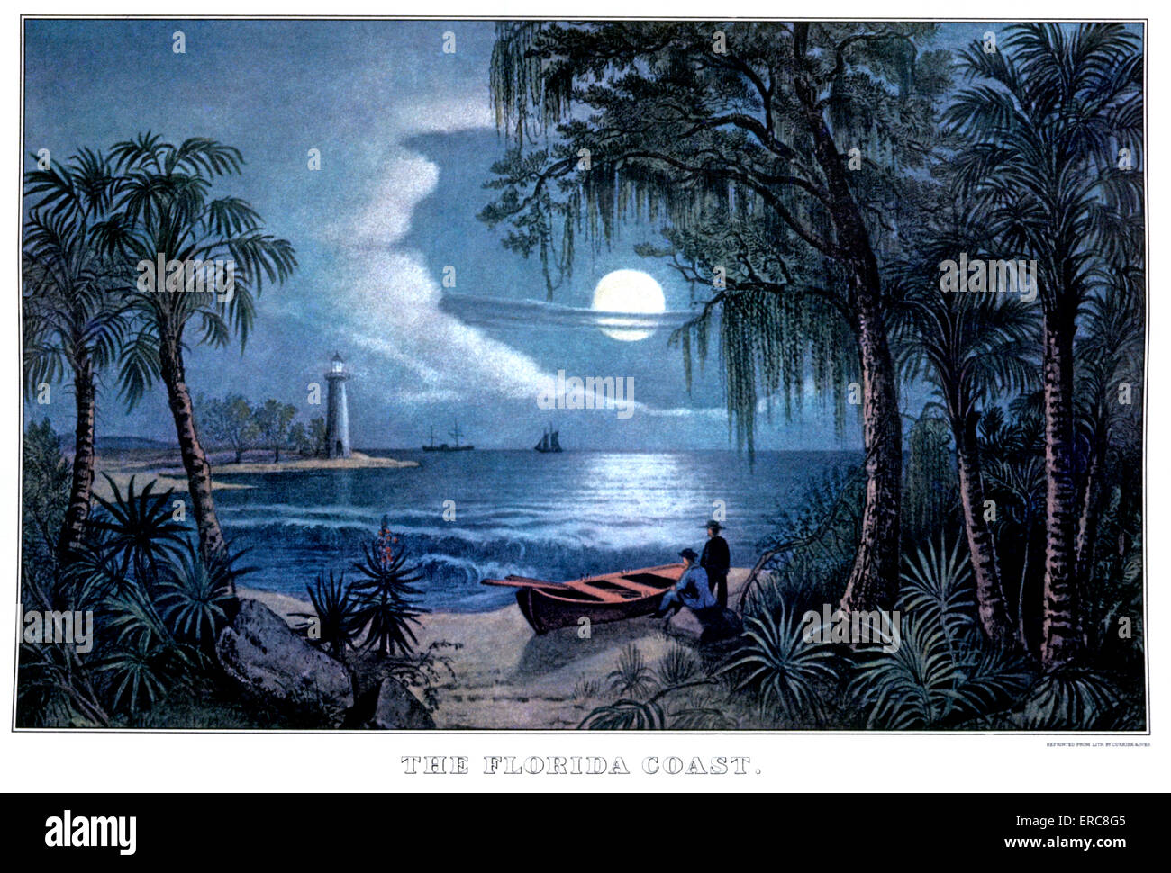 1850s THE FLORIDA COAST - CURRIER & IVES LITHOGRAPH - 1855 - Stock Image