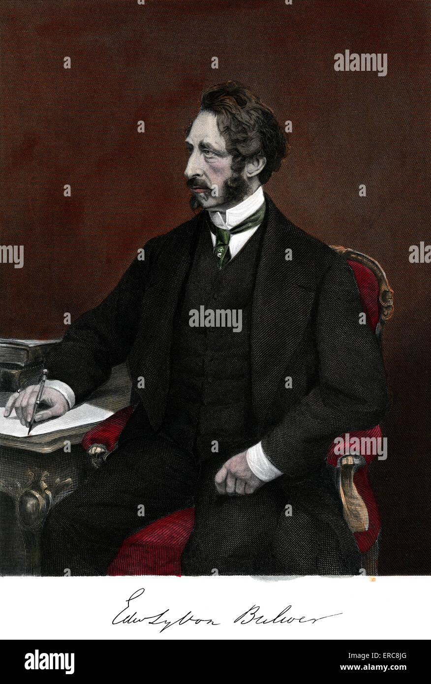 1800s 1860 PORTRAIT EDWARD BULWER LYTTON ENGLISH NOVELIST POLITICIAN PLAYWRIGHT Stock Photo