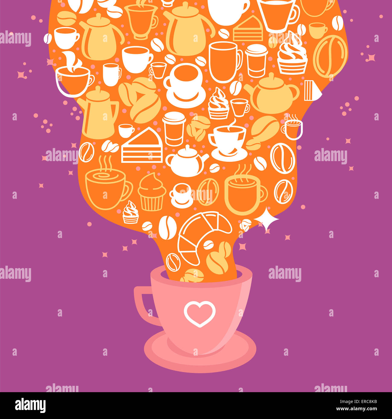 Coffee poster - illustration in flat style with hot cup of coffee - Stock Image