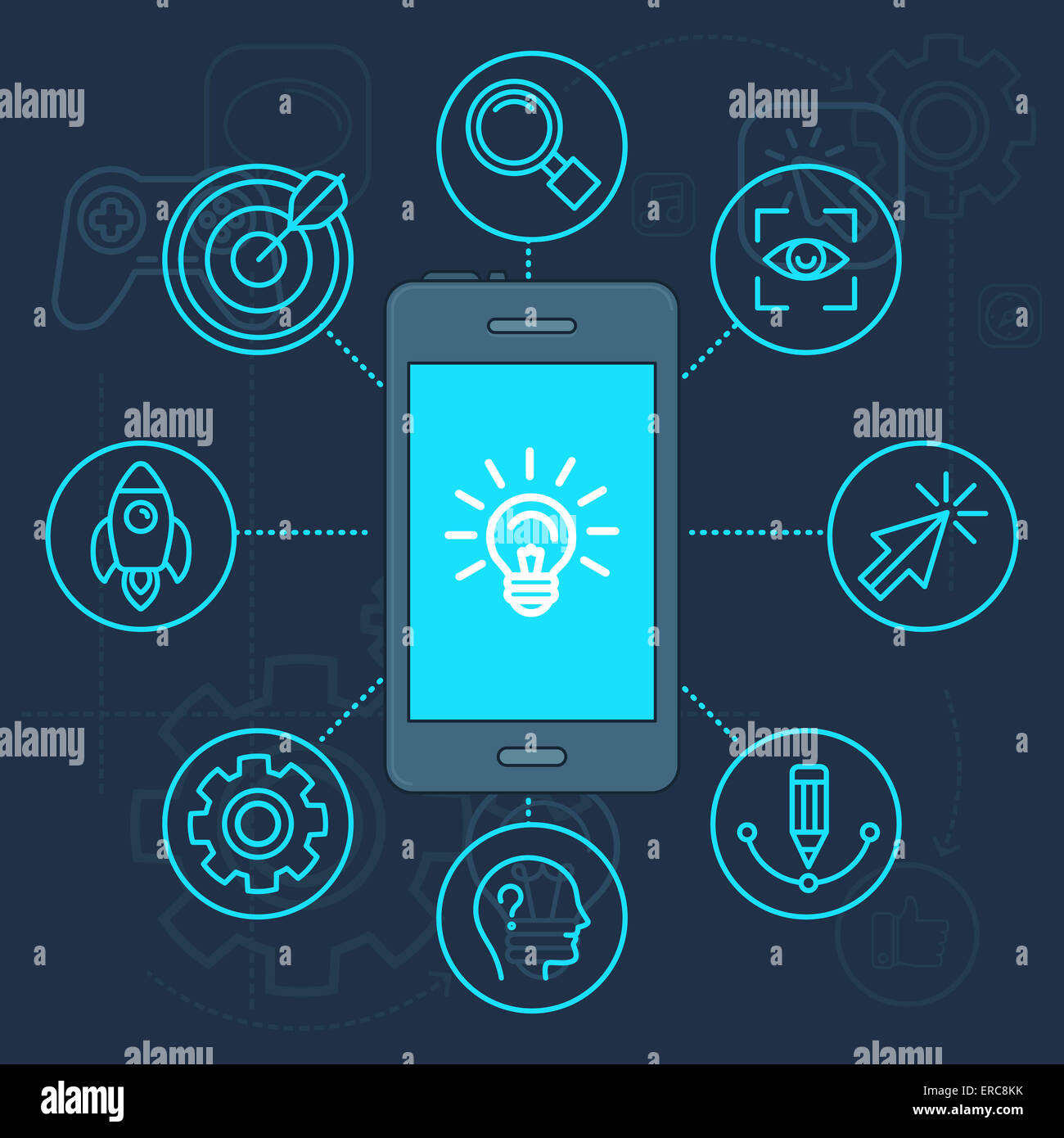 Innovation app on the screen of mobile phone - light bulb icon Stock