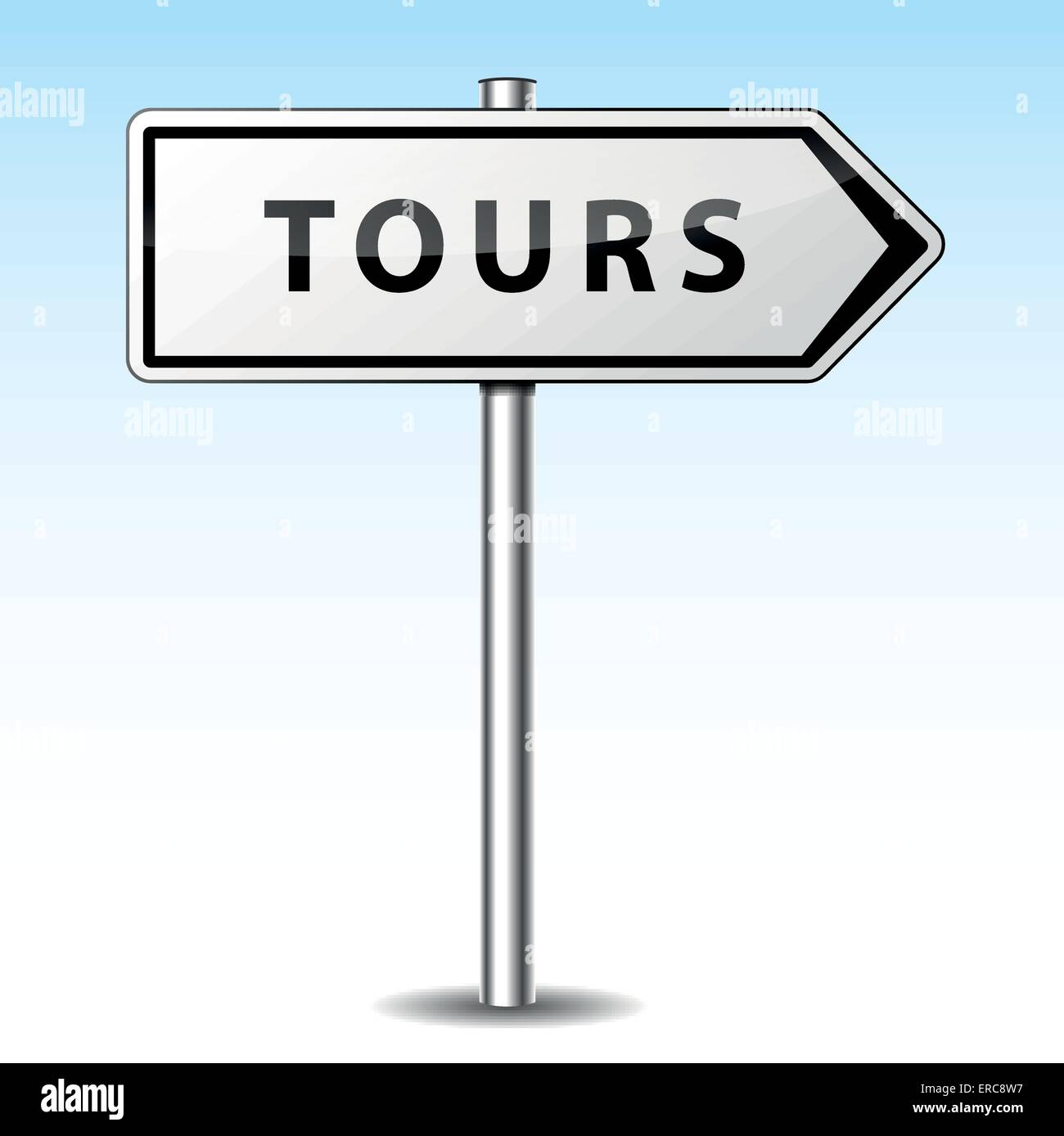 Vector illustration of tours directional sign on sky background - Stock Vector