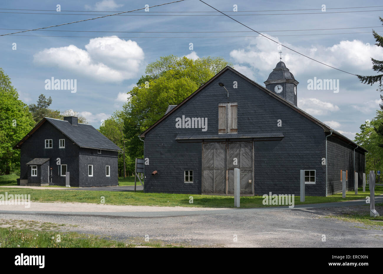 Barn, 1929, accommodation for 800 prisoners in the concentration camp Laura, 1943-1945 subcamp of the Buchenwald - Stock Image