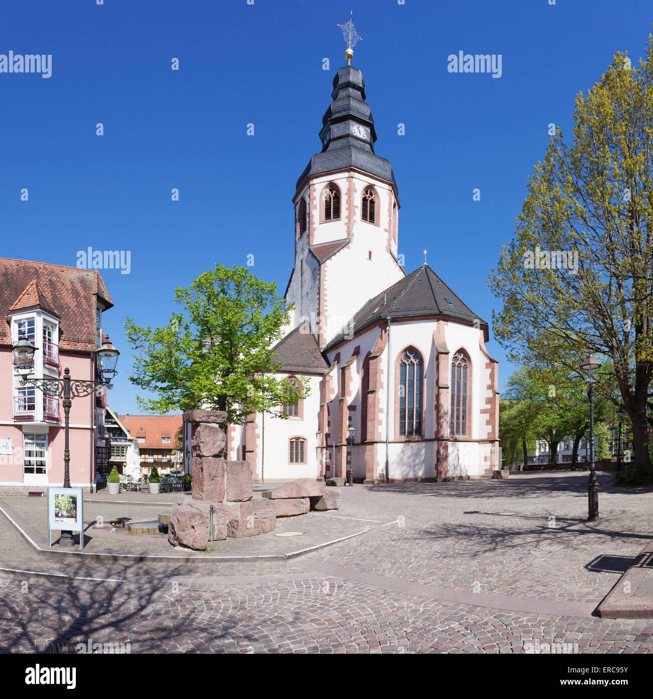 St. Martin's Church on Kirchplatz square, Ettlingen, Baden-Württemberg, Germany - Stock Image