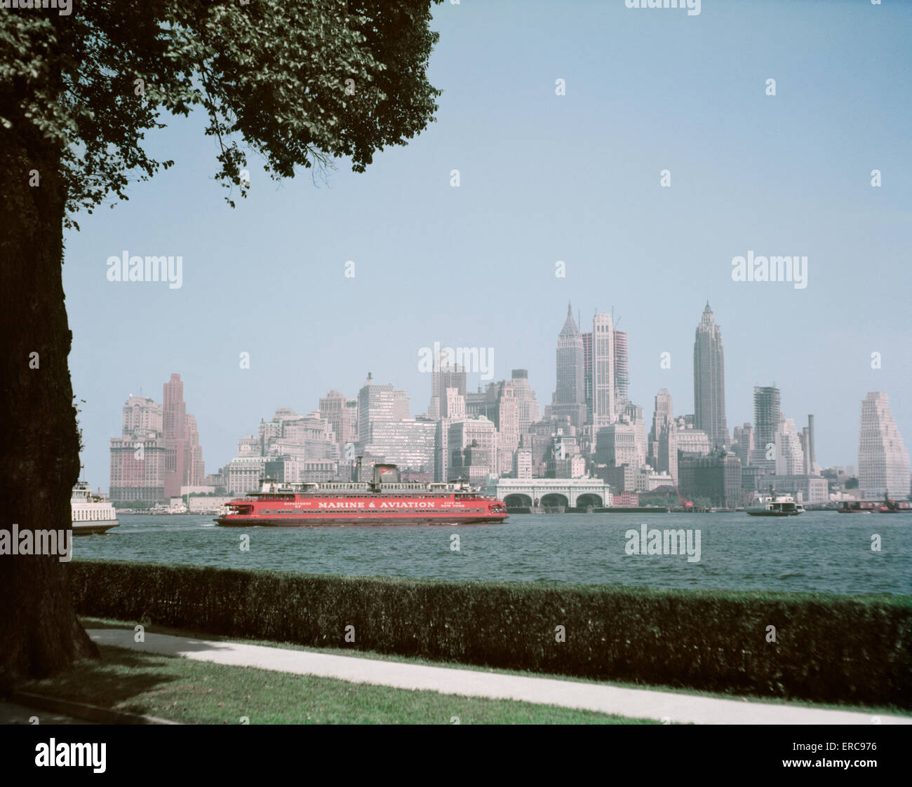 1950s skyline of downtown manhattan taken from governors island in