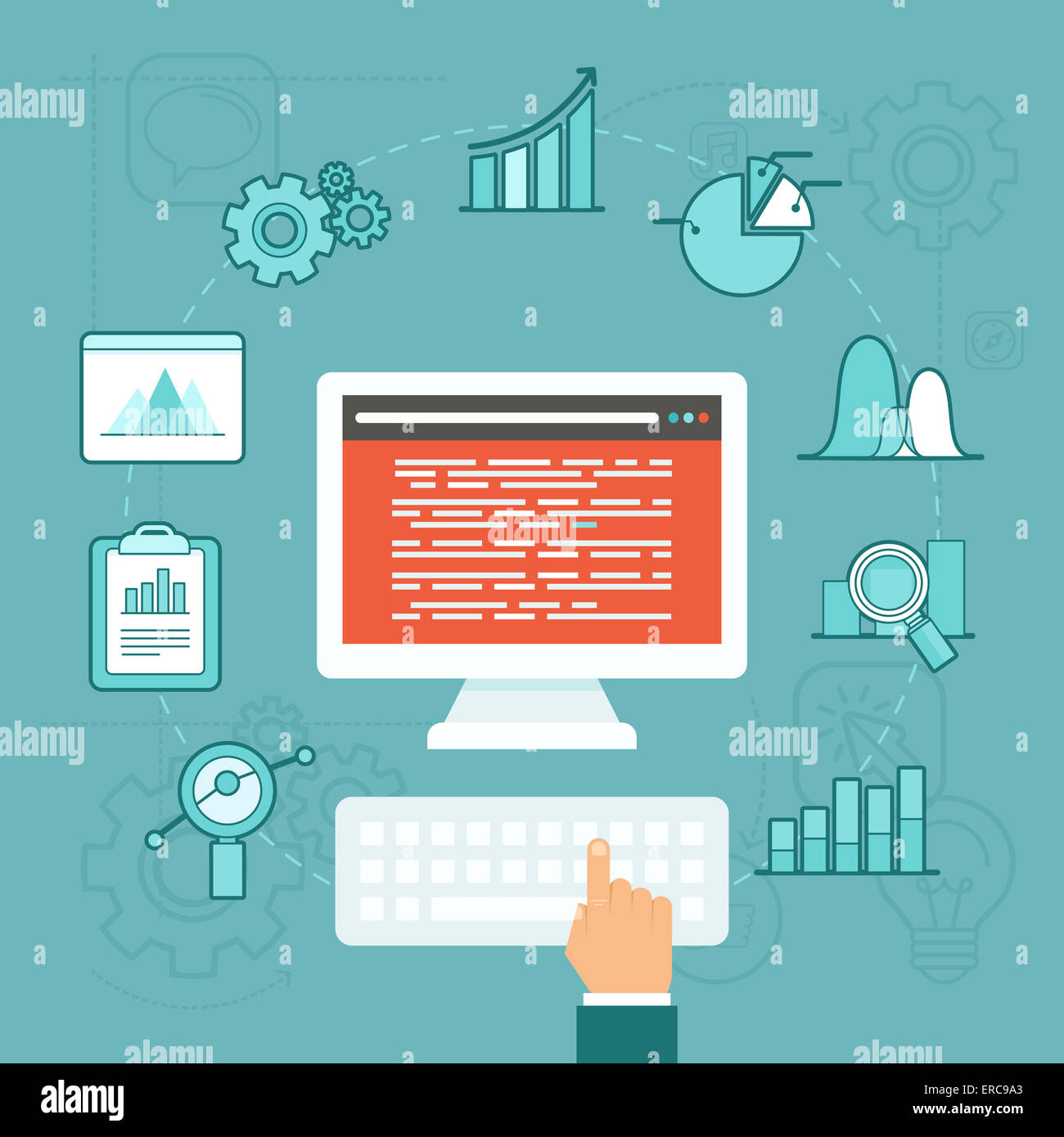 Data analytics concept in flat style - big data development - Stock Image
