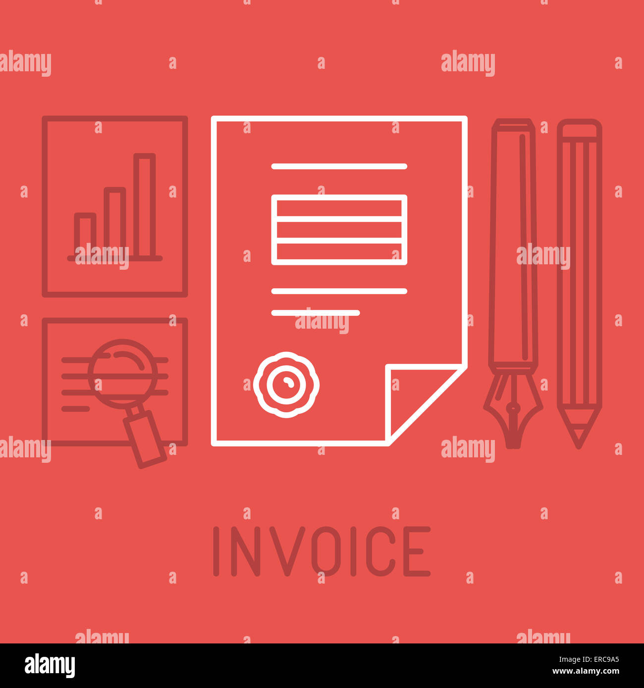 Invoice concept in outline style - bill icon with stamp paid - Stock Image
