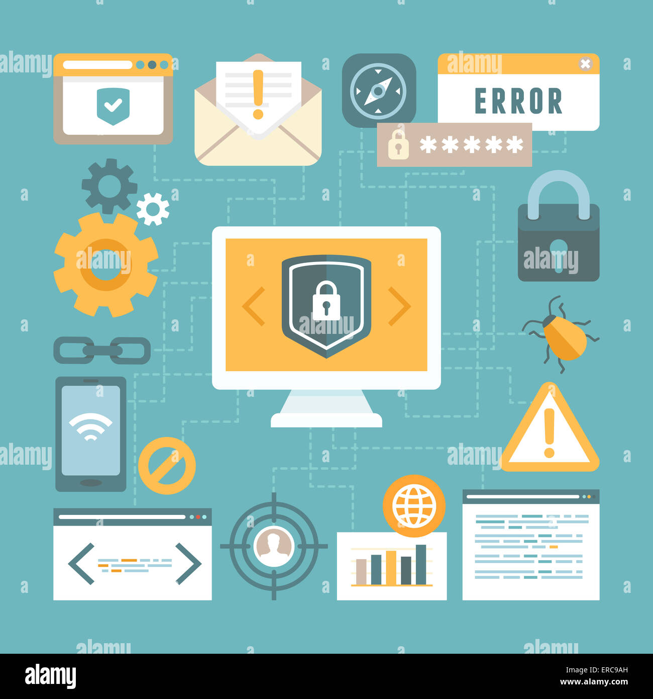 Internet and information security concept in flat style - infographics design elements and icons - Stock Image