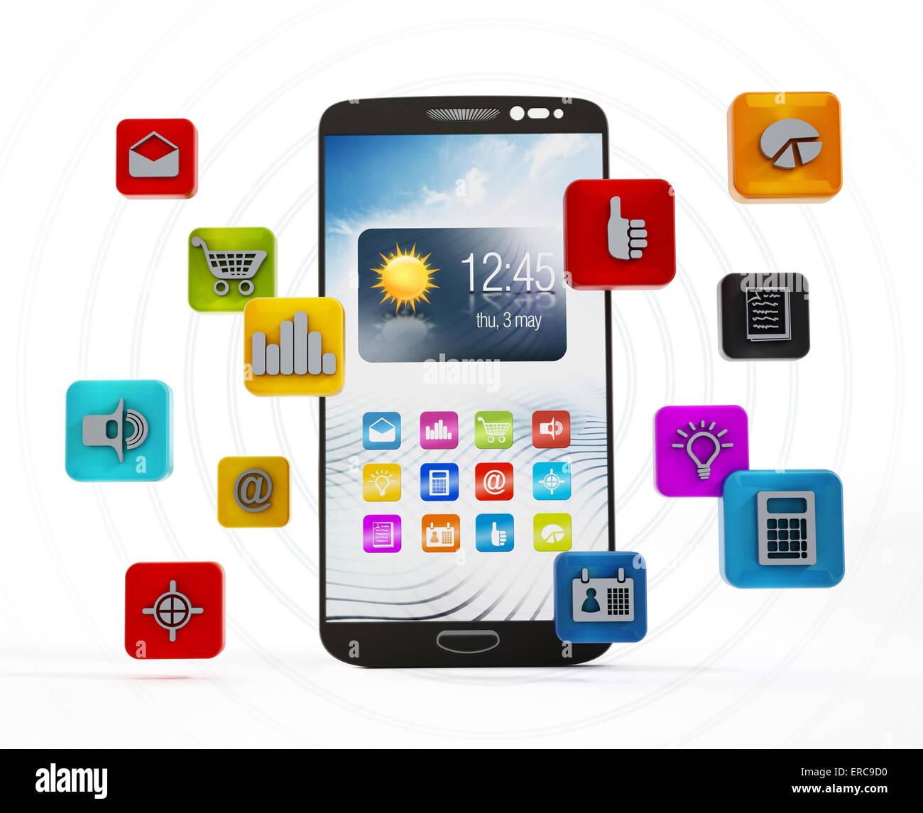 Smartphone applications Stock Photo