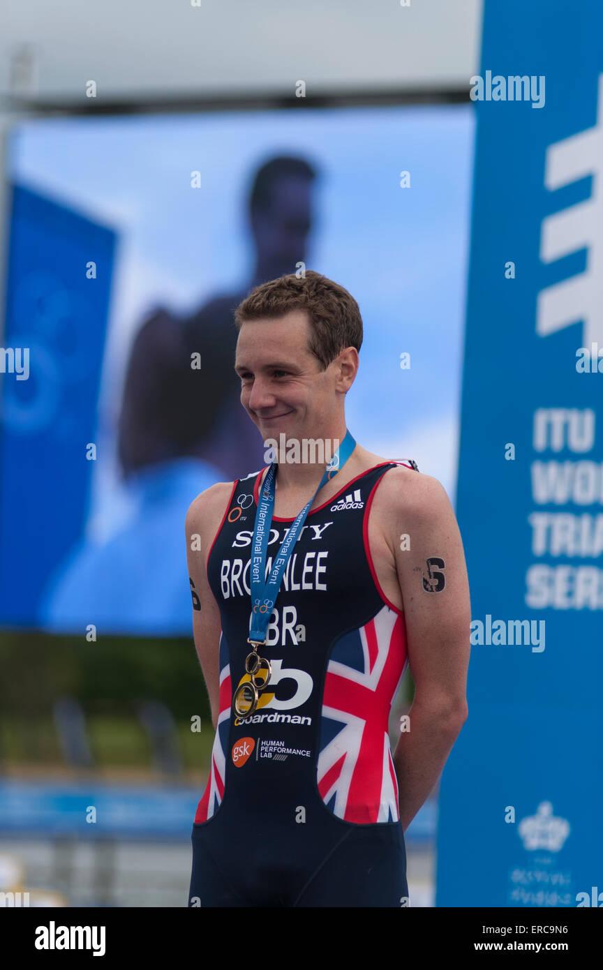 Alistair Brownlee wins the ITU Wold Series Triathlon in London. - Stock Image