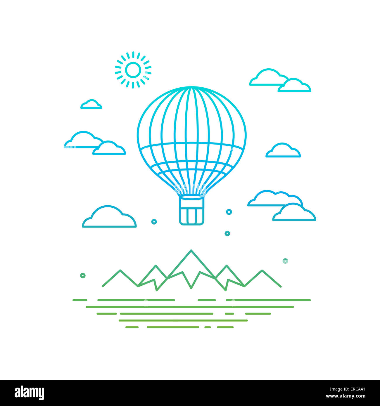 Travel concept in linear style - air balloon flying over the mountains - Stock Image