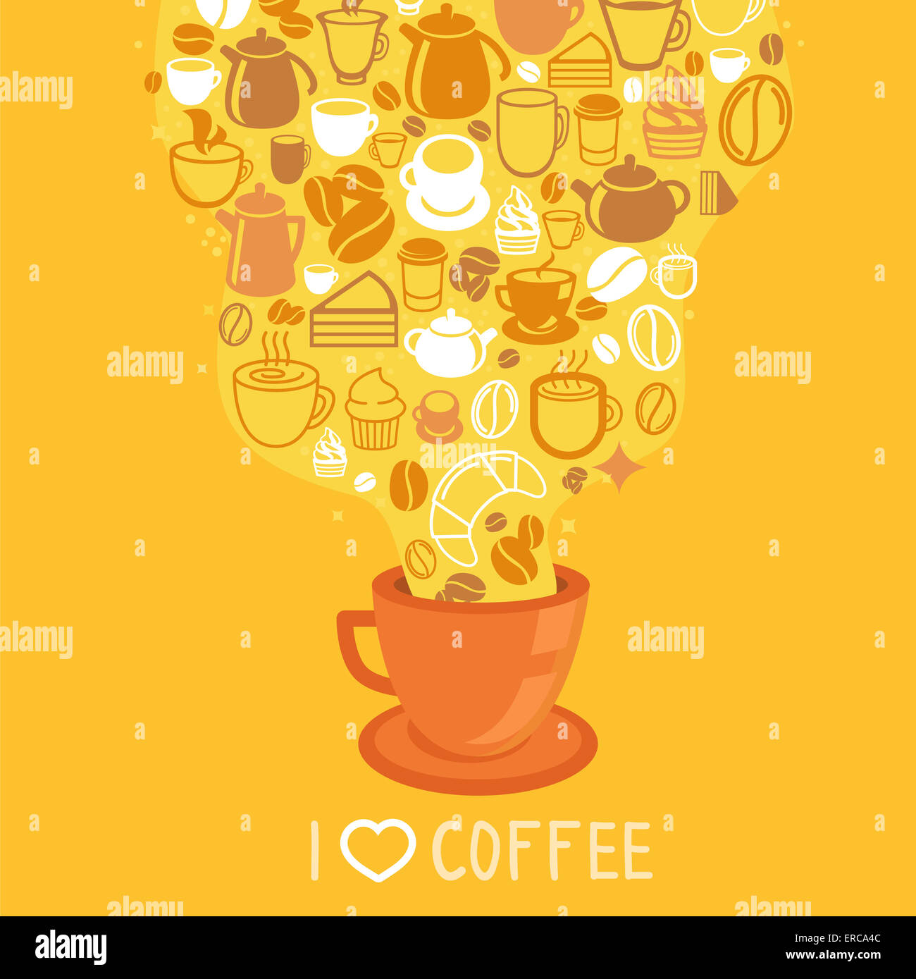 Coffee poster - illustration in flat style with hot cup of coffee on yellow background - Stock Image