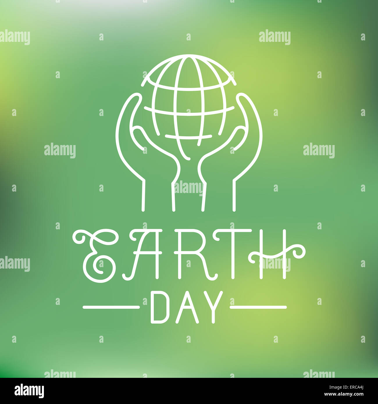 Earth day logo in linear style - ecology concept - hands protecting planet - Stock Image