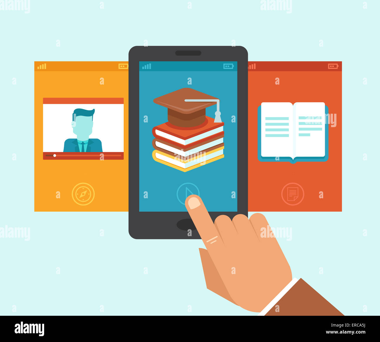 Vector e-learning and education app on the screen of mobile phone - illustration in flat style - Stock Image
