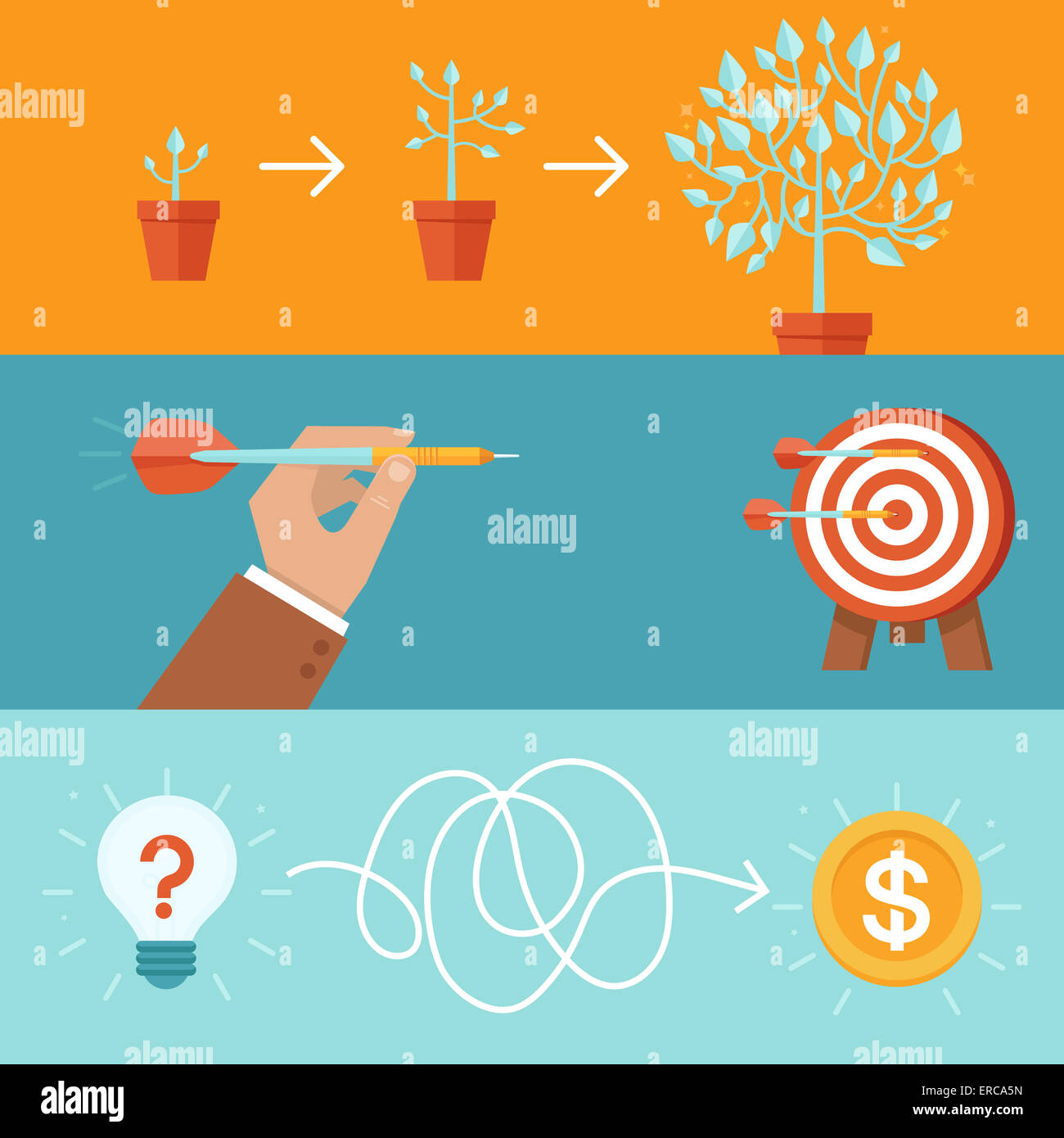 Achievement and realization concepts in flat style - achieving goals and success abstract illustrations - Stock Image